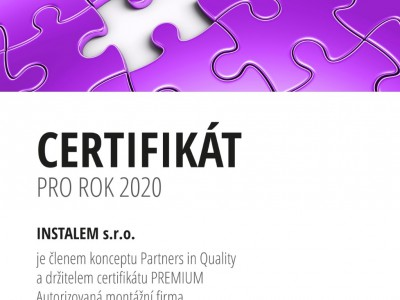 Certifikát PARTNER IN QUALITY - PREMIUM 2020