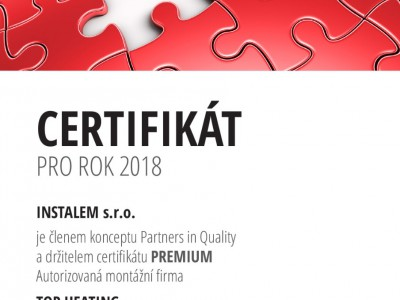 Certifikát PARTNER IN QUALITY - PREMIUM 2018