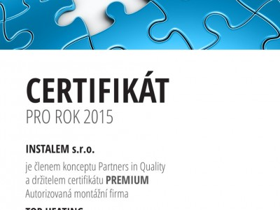 Certifikát PARTNER IN QUALITY - PREMIUM 2015