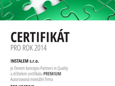 Certifikát PARTNER IN QUALITY - PREMIUM 2014