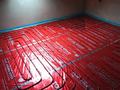 Podlahové kúrenie, anhydritový poter v Dohňanoch